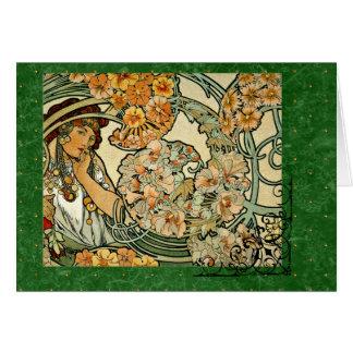 Cartão Língua de Nouveau Mucha da arte das flores 1900