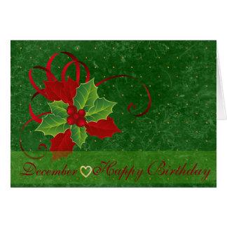 Cartão Língua do azevinho de dezembro do aniversário das