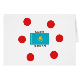 Cartão Língua do Cazaque e design da bandeira de
