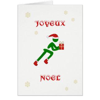 Cartão Língua francesa do corredor do Natal de Joyeux