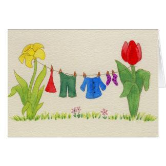Cartão Linha da lavanderia do gnomo