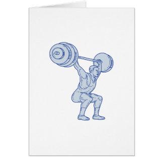 Cartão Linha de levantamento do Barbell do Weightlifter