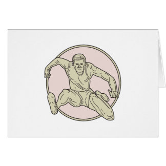 Cartão Linha do círculo do obstáculo do atleta de