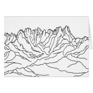 Cartão Linha imagem da coloração da arte de montanhas da