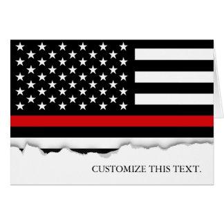 Cartão Linha vermelha fina bandeira americana