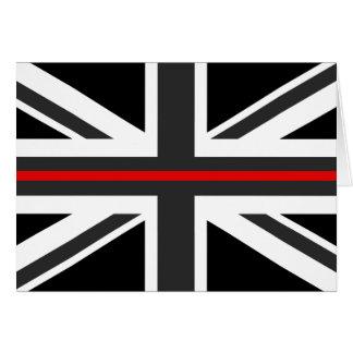 Cartão Linha vermelha fina bandeira do Reino Unido