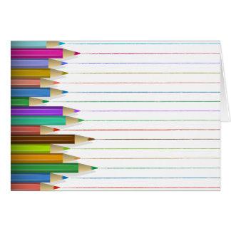 Cartão - linhas coloridas do lápis