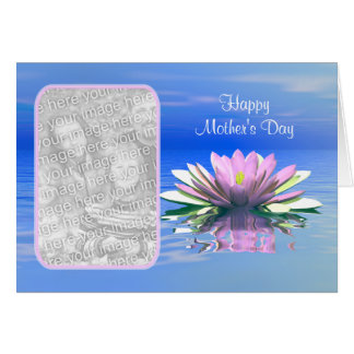 Cartão Lírio de água cor-de-rosa do dia das mães (quadro