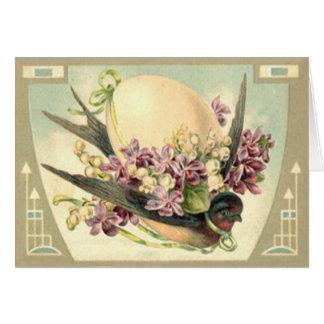 Cartão Lírio do açafrão do ovo da páscoa das aves canoras