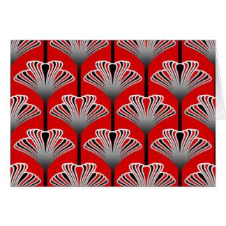 Cartão Lírio do art deco, vermelho escuro e cinzas/cinza
