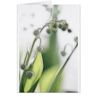 Cartão Lírio do esboço da repetição da flor do vale