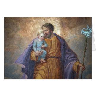 Cartão Lírio transversal de Jesus do bebê de St Joseph
