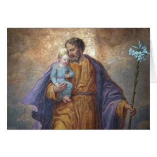 Cartão Lírio transversal de Jesus do bebê de St Joseph do
