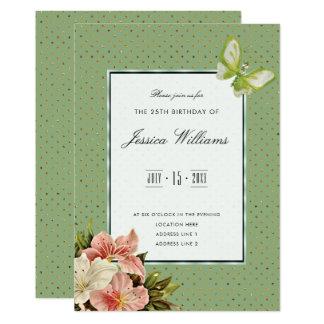 Cartão Lírios chiques & aniversário da borboleta da gema