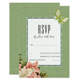 Cartão Lírios chiques & borboleta RSVP da gema