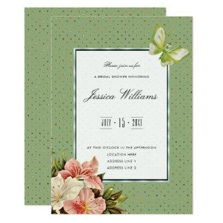Cartão Lírios chiques & chá de panela da borboleta da