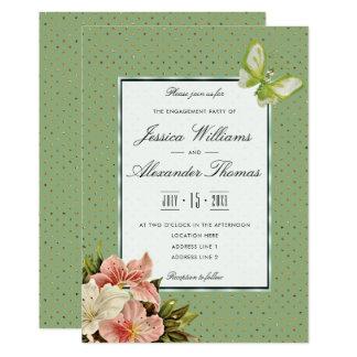 Cartão Lírios chiques & noivado da borboleta da gema