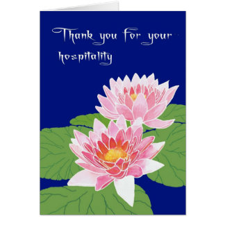 Cartão Lírios de água cor-de-rosa em obrigados azuis para
