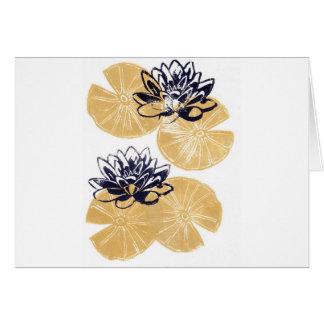 Cartão Lírios de água dourados