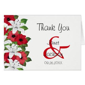 Cartão Lírios vermelhos e brancos do arando - obrigado