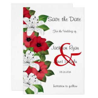 Cartão Lírios vermelhos e brancos do arando - salvar a