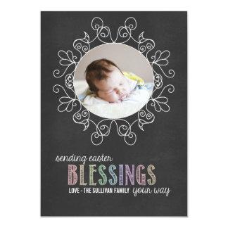 Cartão liso da foto colorida do felz pascoa do giz convite 12.7 x 17.78cm