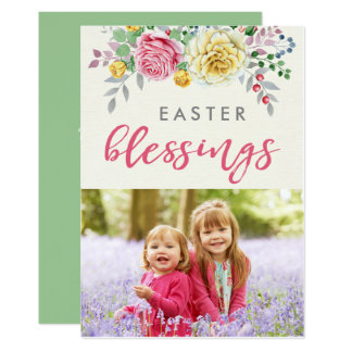 Cartão liso da foto das bênçãos da páscoa convite 12.7 x 17.78cm