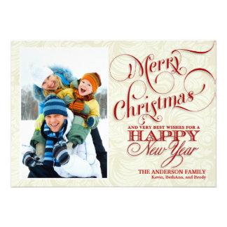 Cartão liso da foto do Natal - vermelho & branco Convites Personalizado