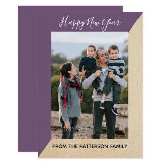 Cartão liso da foto inclinada moderna roxa de ano