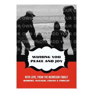 Cartão liso da foto simples do feriado, vermelho convites personalizado