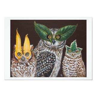 Cartão liso das corujas do mascarada