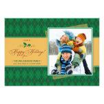 Cartão liso de Argyle do inverno boas festas (verd Convite Personalizados