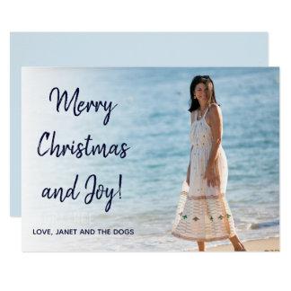 Cartão liso de cumprimento do Natal ocasional azul