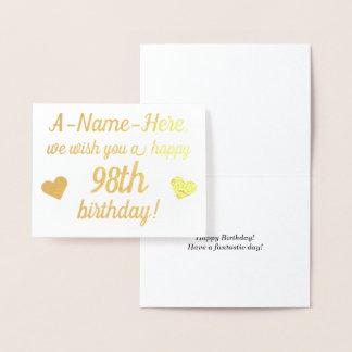 Cartão liso do aniversário da folha de ouro 98th