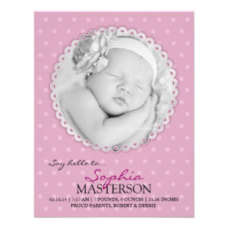 Cartão liso do anúncio do bebé recém-nascido convites personalizados