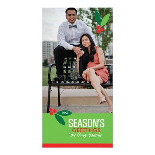 cartão liso do design do azevinho da foto 4x8 1 cartões com fotos