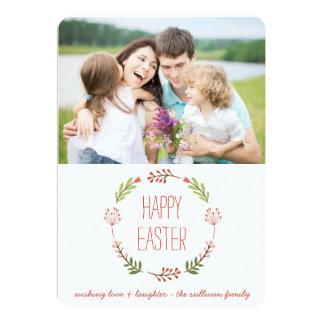 Cartão liso do felz pascoa botânico da grinalda | convite 12.7 x 17.78cm