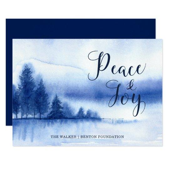 Cartão liso do feriado do lago winter da aguarela convite 12.7 x 17.78cm