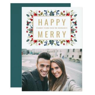 Cartão liso do feriado feliz da foto da feliz | convite 12.7 x 17.78cm