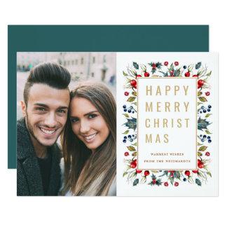 Cartão liso do feriado feliz da foto do Feliz Convite 12.7 X 17.78cm