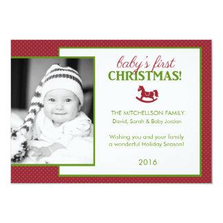Cartão liso do primeiro Natal do bebê do cavalo de Convite 12.7 X 17.78cm