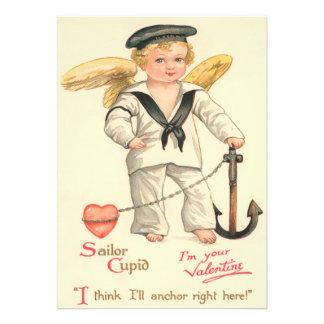 Cartão liso dos namorados do Cupido do marinheiro