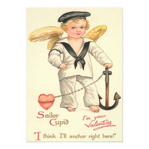 Cartão liso dos namorados do Cupido do marinheiro  Convite Personalizado
