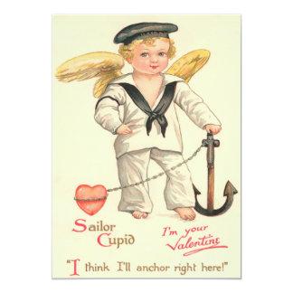 Cartão liso dos namorados do Cupido do marinheiro Convite 12.7 X 17.78cm