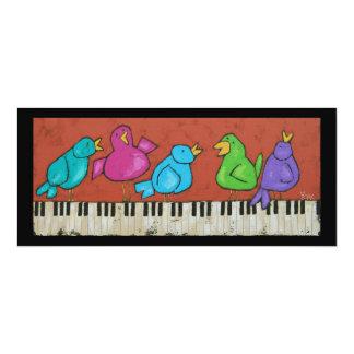 Cartão liso dos pássaros do piano convite 10.16 x 23.49cm