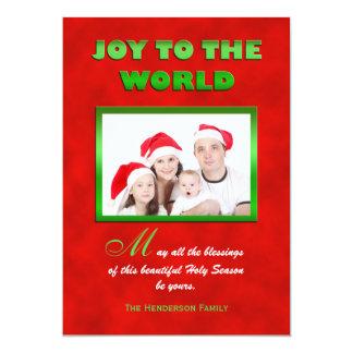 Cartão liso religioso da foto de família do Natal Convite 12.7 X 17.78cm