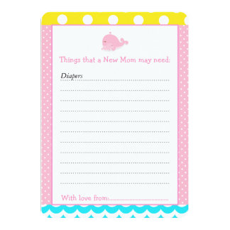 Cartão Lista do conselho do menino da menina do rosa da