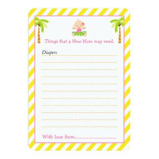 Cartão Lista tropical do conselho da menina de Hula para