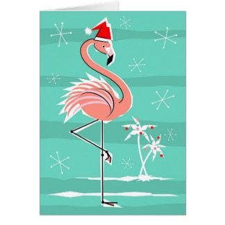 Cartão Listra do flamingo do Natal boas festas