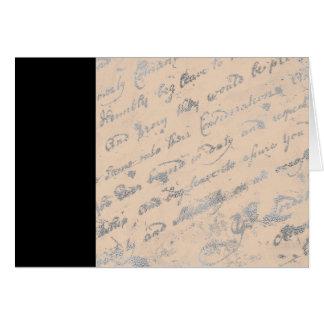 Cartão Listra preta e notecard prateado das palavras